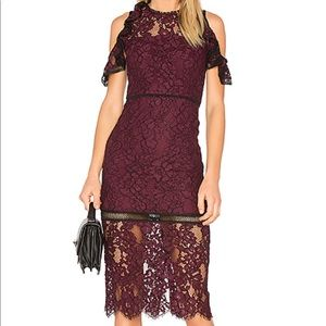 Maroon lace cold shoulder midi cocktail dress